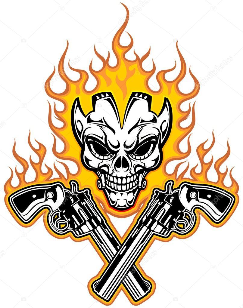 Cráneo Y Armas Archivo Imágenes Vectoriales Guntariana 40335659
