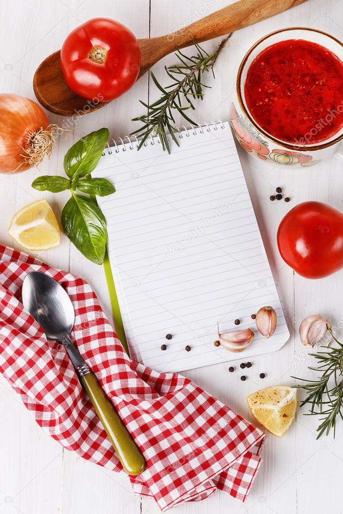 Concepto de cocina libro de recetas e ingredientes para for Ingredientes para cocinar