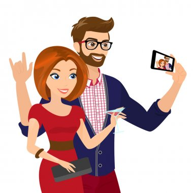 Close-up vector illustration of cheery handsome man and woman in red dress are taking a snapshot of themselves . Contains EPS10 and high-resolution JPEG stock vector