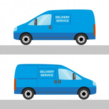 Blue delivery van isolated view from two sides