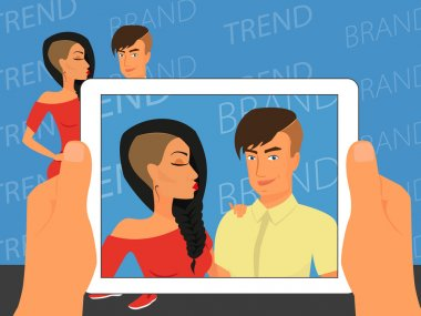 Photographing of happy couple on blue background using white tablet pc. Contains EPS10 and high-resolution JPEG clip art vector