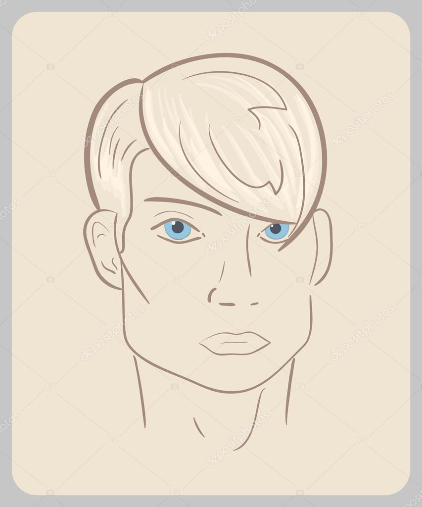 青い目とブロンドの髪と手描き男顔クローズ アップ イラスト 概説