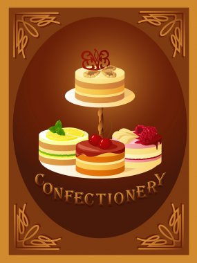 Confectionery. Sign with four kinds of cakes