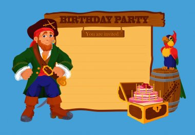 Birthday party invitation card with pirate