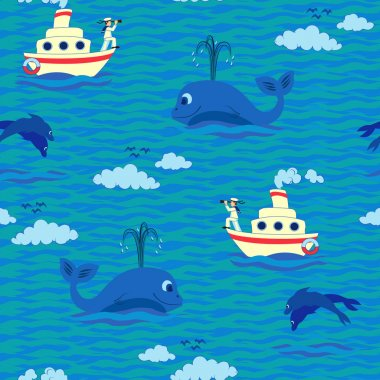 Seamless baby pattern  Sailor