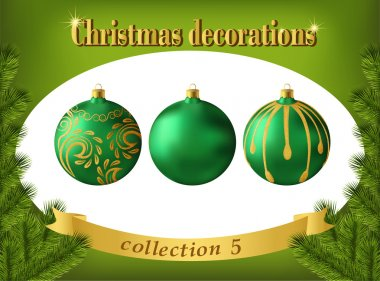 Christmas decorations. Collection of green glass balls