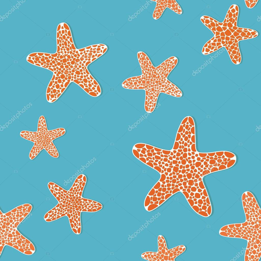Bright seamless pattern with orange seafishes on a blue background