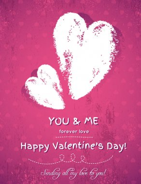 pink background with two valentine hearts and wishes text, vect