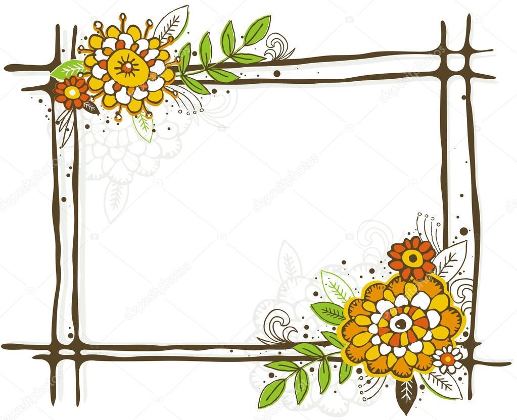 Bilderrahmen mit Blumen von Hand zeichnen — Stockvektor © sunnyfrog ...