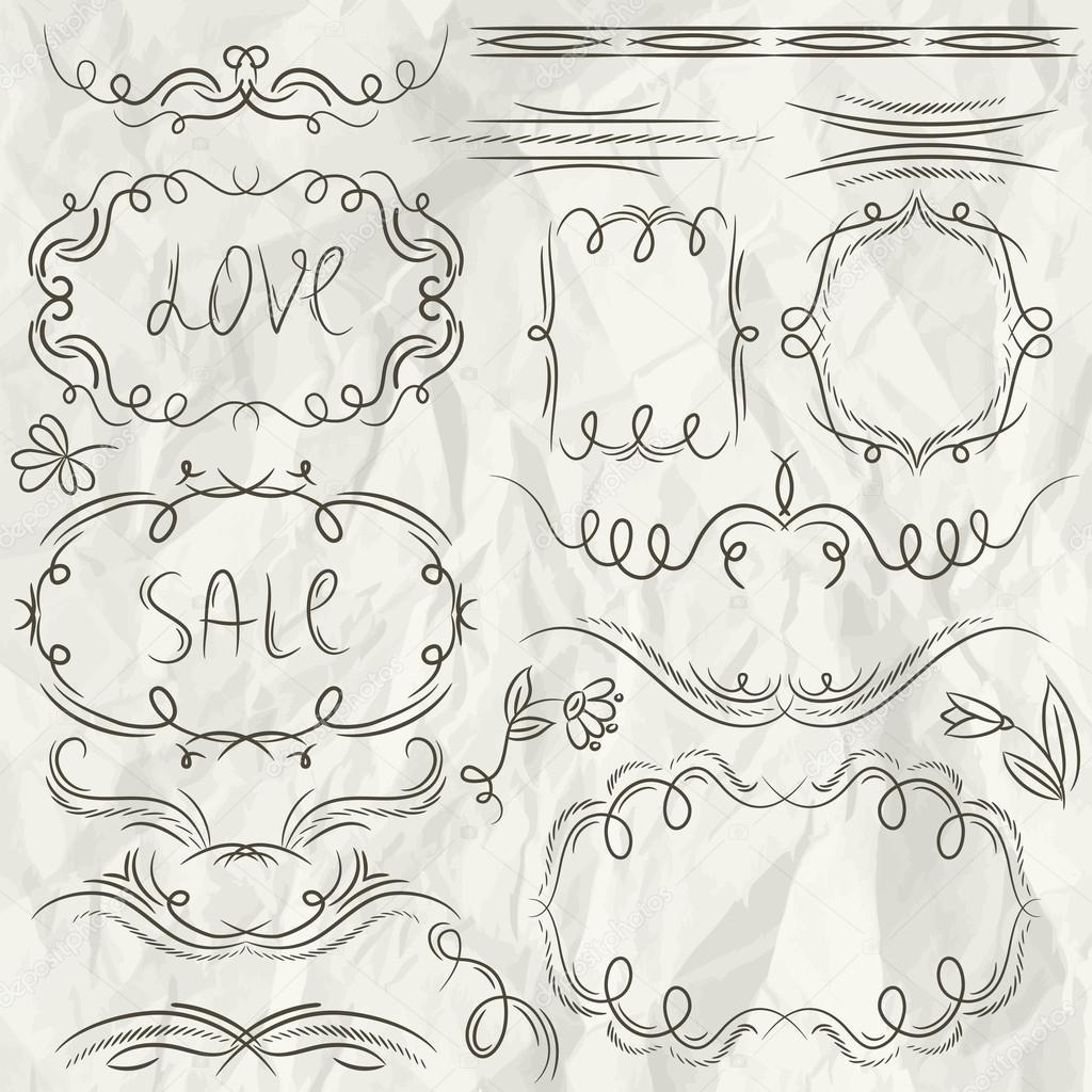 bordes decorativos florales, ornamentales reglas, separadores, marco ...