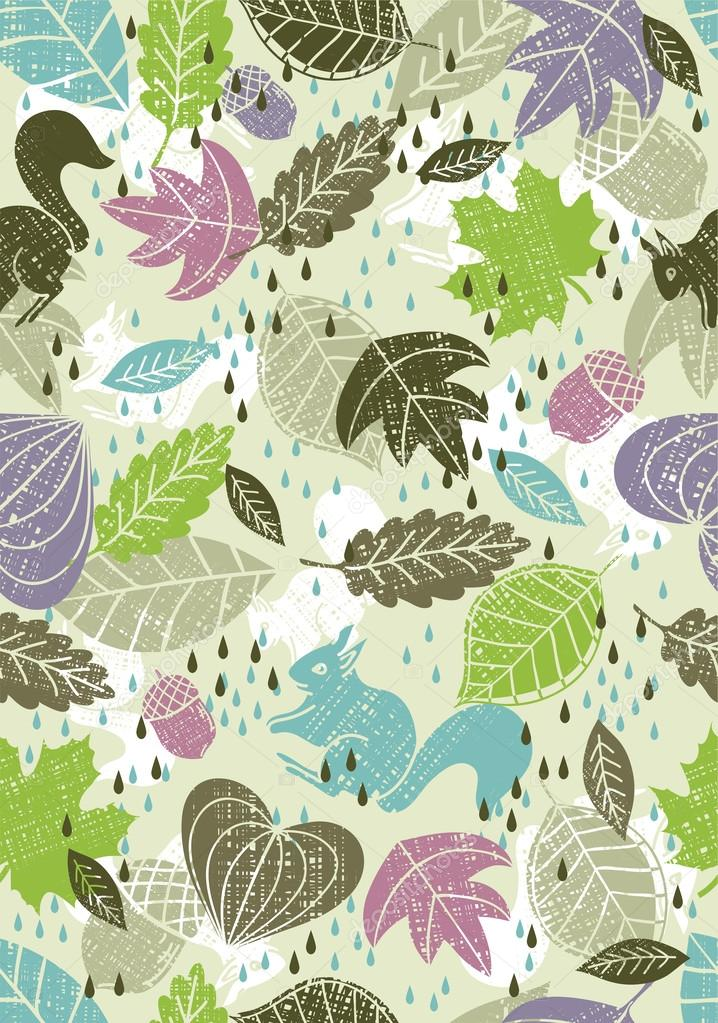 Background of hand draw  leafs suitable wrapping paper , vector