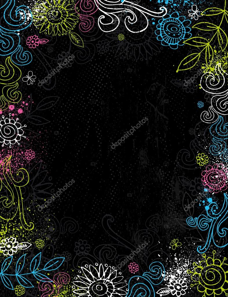 hand draw  flowers on black background
