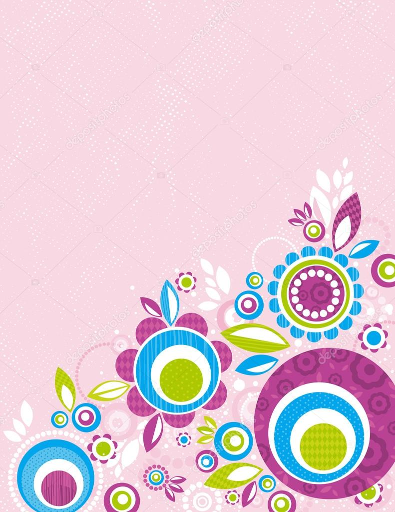 color flowers on pink grunge background