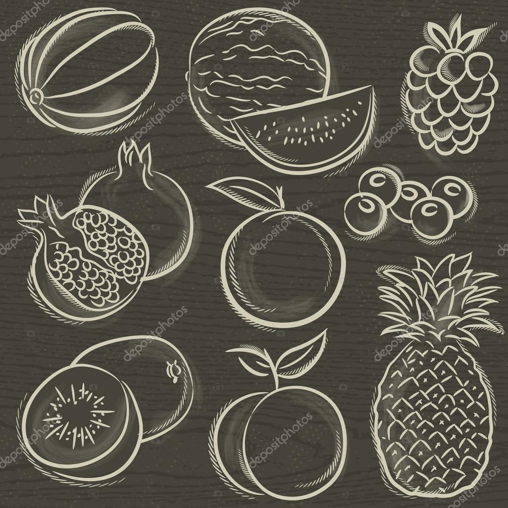 set of fruits, melon, watermelon, blackberry, peach, vector