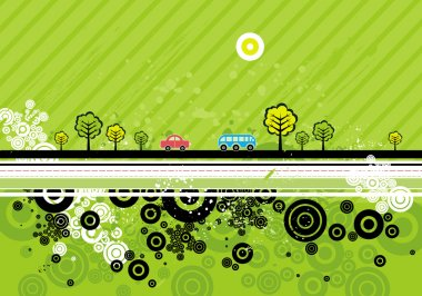 Urban background with many automobiles, vector illustration