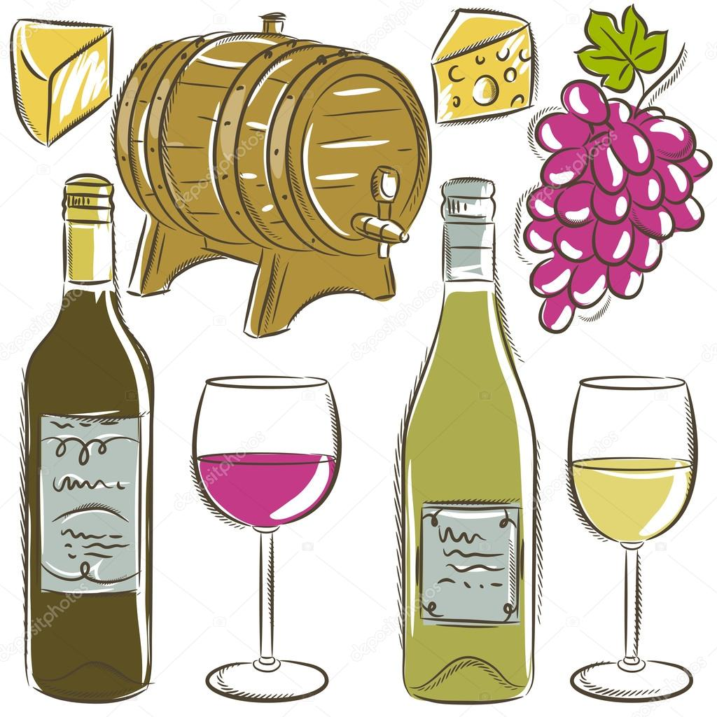 set of glasses and bottles for wine, vector