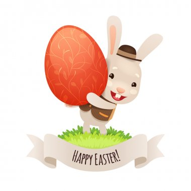 Happy Easter Bunny With Red Egg