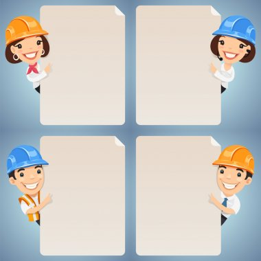 Foremen Cartoon Characters Looking at Blank Poster Set. In the EPS file, each element is grouped separately. Clipping paths included in additional jpg format. stock vector