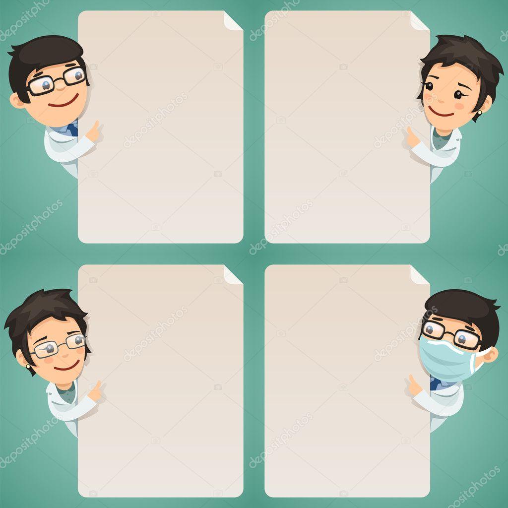 Doctors Cartoon Characters Looking at Blank Poster Set