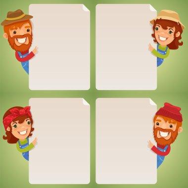 Farmers Cartoon Characters Looking at Blank Poster Set