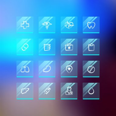 Medical Flat Glass Icons on Blur Background