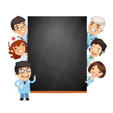 Doctors Presenting Empty Blackboard
