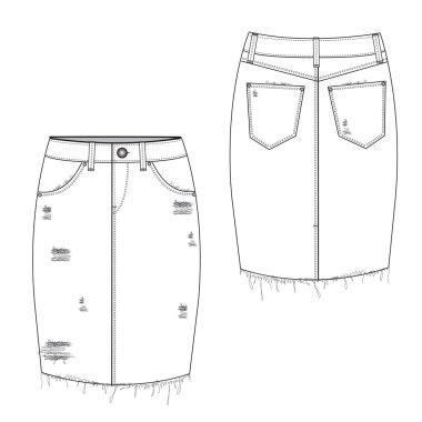 Ripped Midi Jean Skirt