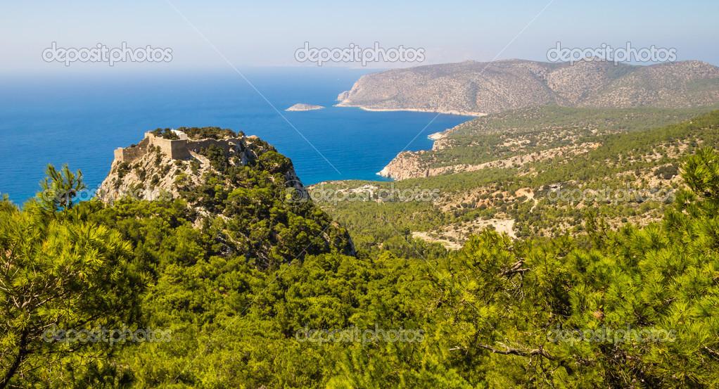 Monolithos caste, Rhodes island, Greece - sea view landscape