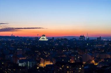 Panorama of Belgrade, Serbia at dusk