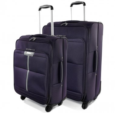 Two travel suitcases on a white background.