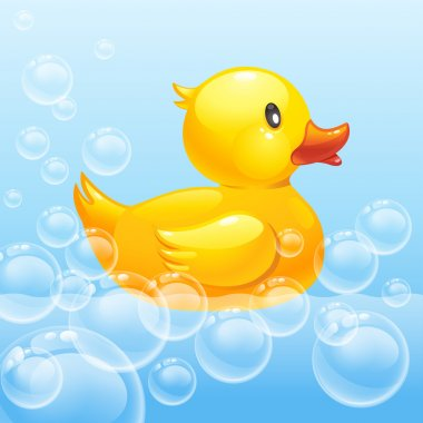 Rubber duck in blue water.