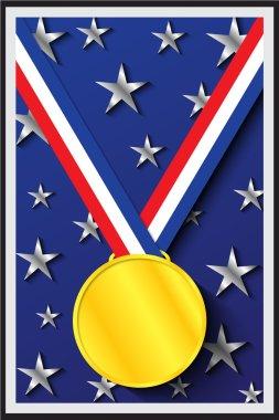 Gold Medal on Blue Background