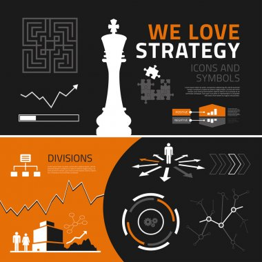 Business strategy infographic elements, icons and symbols