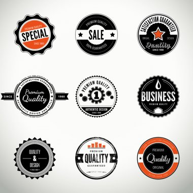 Vector set with round seals and badges