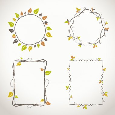 Floral frames with autumn colors