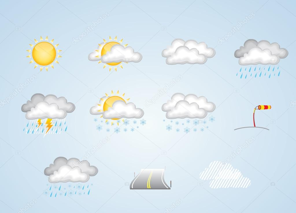 Weather icons - sunny, cloudy, rain, snow and more