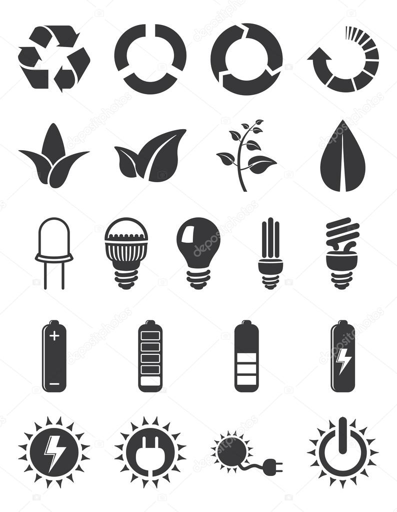 Ecology energy icon set