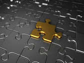 zlaté a stříbrné skládačky puzzle kousky