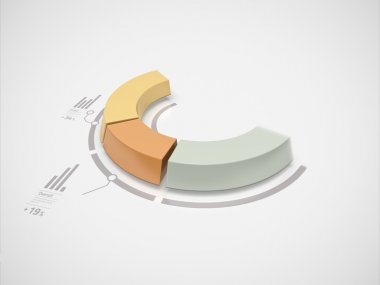 Partial 3d donut chart in motion