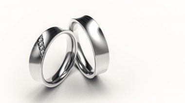 Pair of silver rings with small diamonds for lovers