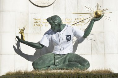 Spirit Of Detroit Statue With Detroit Tiger Baseball Jersey