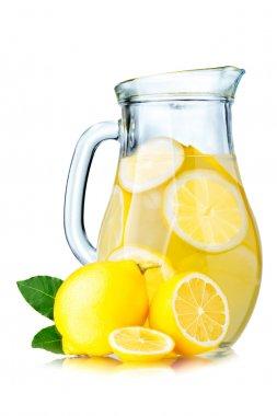 Lemonade pitcher with lemons