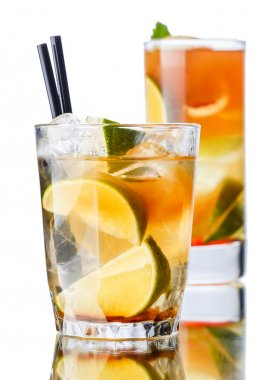 Iced tea in a transparent glasses. Focus on foreground stock vector