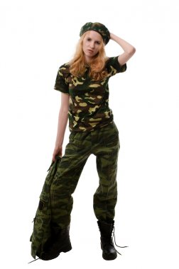 sexy girl in military uniform