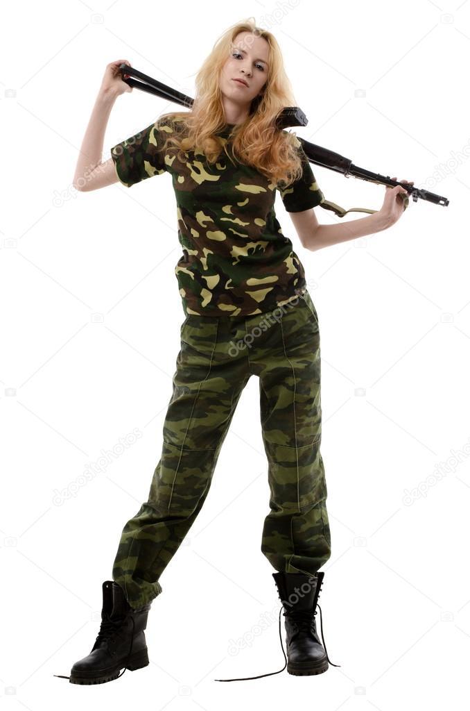 Сексуальная девушка в военной форме фото