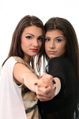 Two female friends in tango pose