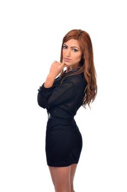 Studio portrait of a pensive middle eastern arab business woman
