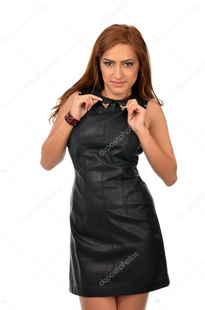Sexy arab woman pulling on her collar — Stock Photo