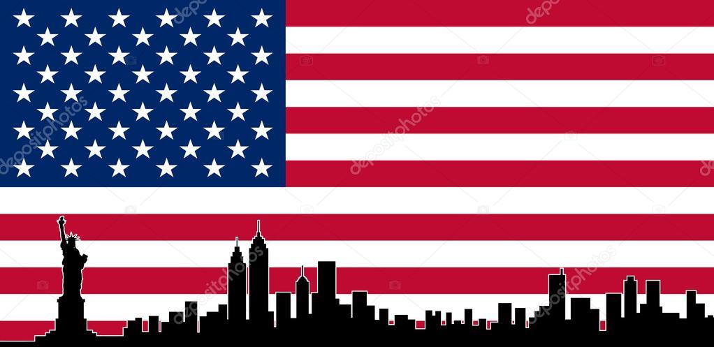 color de los e.e.u.u. bandera Nueva York skyline de vector — Vector ...
