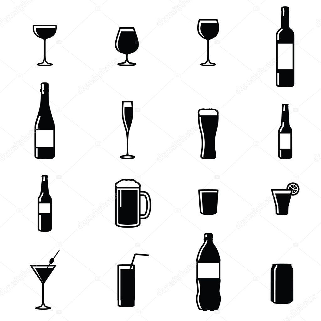 Set Of Sixteen Drinks Black & White Silhouette Vector Illustrations